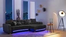 wohnlandschaft mit led wohnlandschaft laredo sofa schwarz mit led und soundsystem