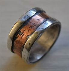 mens wedding band rustic fine silver and copper or 14k