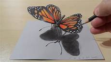 Drawing Butterfly How To Draw 3d Butterfly Magical