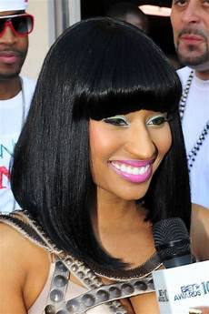 nicki minaj straight black angled bob blunt bangs bob