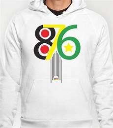 876 jamaica area code print hoody hoodies reggae style