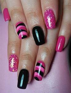 15 black pink gel nail art designs ideas 2016