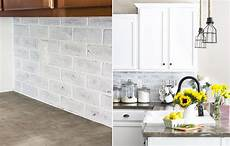 Faux White Brick Backsplash diy kitchen backsplash ideas