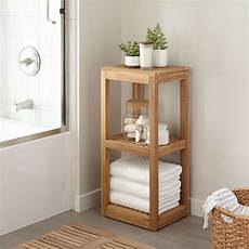 Three Tier Teak Towel Shelf Bathroom