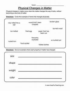 physical changes of matter worksheets physical changes worksheet 1 have fun teaching