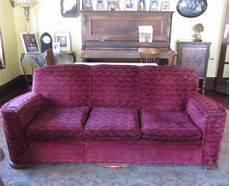 vintage deco sofa mohair original burgundy