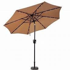 sunray 9 ft bluetooth speaker solar lighted market patio umbrella in taupe 841040 the home depot