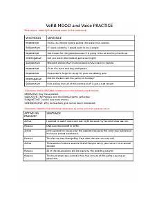 verb mood and voice worksheet docx verb mood and voice practice directions identify the mood