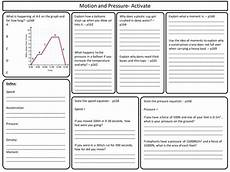 science revision worksheets for year 7 12381 ks3 activate science motion and pressure topic revision worksheet by marcmarshall teaching