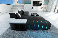 led sofa modern sofa bellagio led l shaped black white ebay