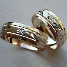 10k solid tricolor gold his and wedding band ring sz 5 13 free engraving ebay