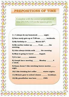 preposition of time worksheets for grade 3 3491 prepositions of time worksheet free esl printable worksheets made by teachers