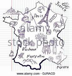 Stilisierte Landkarte Frankreich Dinge Denen