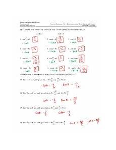 basic trig identities answers practice worksheet 1 basic identities of sines cosines and