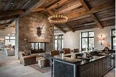 Country Living Room With Black Nailhead Bar Country