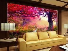 3d room wallpaper custom mural photo red flower elk forest