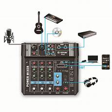 Teyun Channel Audio Mixer Mixing Console by Speaker Mounts Teyun Pa4 4 Channel Audio Mixer Mixing