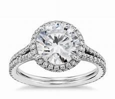 blue nile studio cambridge halo diamond engagement ring in platinum 1 2 ct tw blue nile