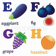 illustrations of alphabet letters from e to h with
