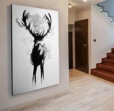 Ikea Bilder Leinwand - bild 140x96x5 neu leinwand hirsch schwarz weiss