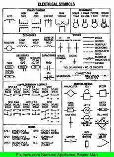 electrical symbols wiring and schematic diagrams fixitnow com samurai appliance repair man