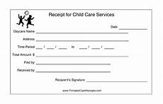 receipts for child care 2 per page