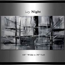 minimalist black and white painting 68 x 30 by