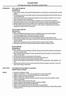 route driver resume sles velvet