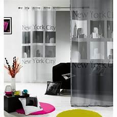 voilage quot pop quot new york gris blanc 140x240cm