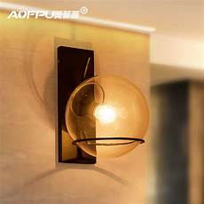american style loft glass ball led wall l concise warm bedside living room study wall lights