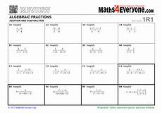 algebraic fractions adding and subtracting worksheet for