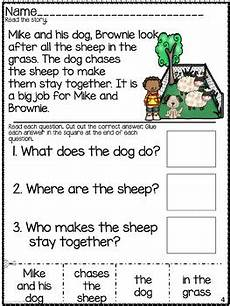 wh questions comprehension worksheet set cut paste by