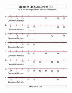 algebra number line worksheets 8491 increasing number line sequences with missing numbers max 100 a