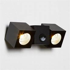 searchlight lighting dallas double light led outdoor cube wall fitting in black finish with pir