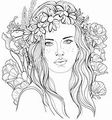 coloring pages of peoples hair 17841 image of a with a floral wreath in hair coloring page coloring pages coloring books