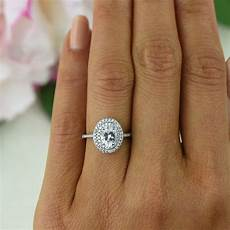 1 ctw oval double halo ring engagement ring 3 4 carat center man made diamond simulants half