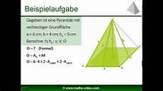 pyramide volumen und oberfl 228 che kostenloses mathevideo