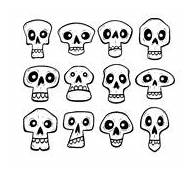 Collection Of Cute Skulls Stock Vector Illustration