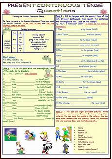 worksheets present tense 19016 present continuous tense questions 4 pages 11 tasks with key fully editable