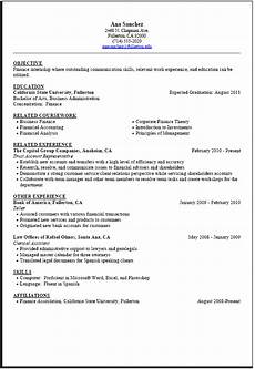 internship resume sle career center csuf