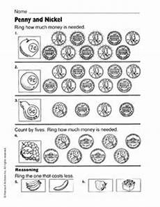 money worksheets pennies and nickels 2289 and nickel worksheet for 1st 2nd grade lesson planet