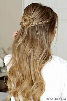 prom hair buns half up braid wrapped bun sue