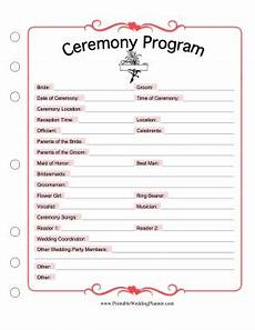 use this printable ceremony program as a template to list
