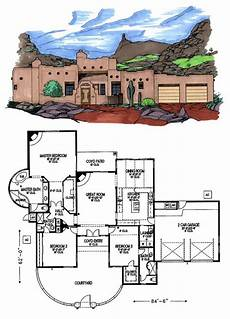 southwest house plans with courtyard santa fe southwest house plan 54618 front courtyard