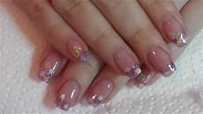 rosa nägel mit glitzer geln 228 gel lila glitter