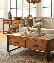 rustic industrial coffee table with drawers zin home