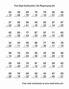 subtraction worksheets no borrowing 10015 two digit subtraction with no regrouping 49 questions a