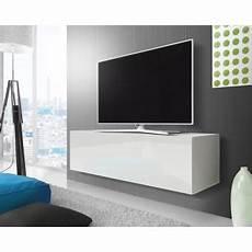 Point Meuble Tv Suspendu 140 Cm Blanc Mat Blanc