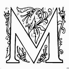 Ausmalbilder Buchstaben M M Blumenverzierung Ausmalbild Malvorlage Alphabet