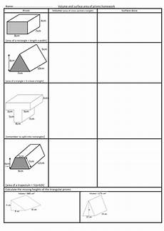 volume and surface area of prisms worksheet teaching resources